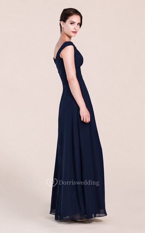 Off-shoulder A-line Chiffon Gown With V-back - 3