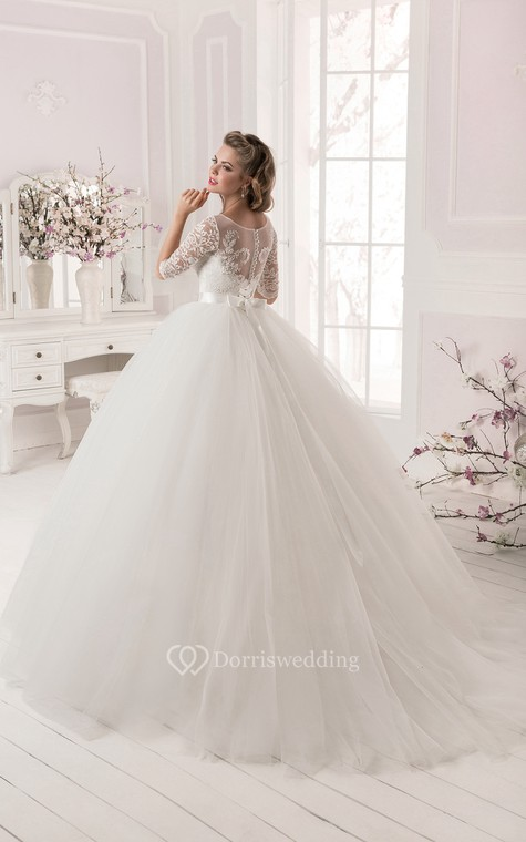 Ball Gown Lace&Tulle Long Sleeve Dress with Crystal Detailing - 3