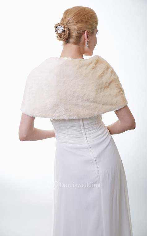 Champagne Faux Fur Bridal Wrap With Crystal Brooch - 2
