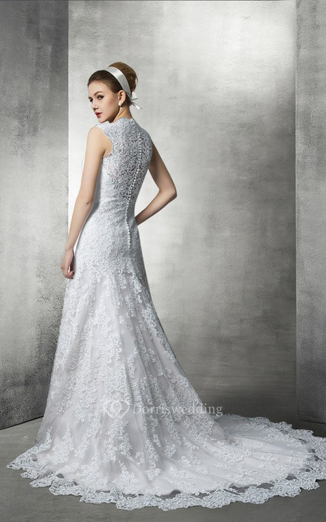 Fit and Flare Lace Wedding Gown With Plunging Neckline - 2