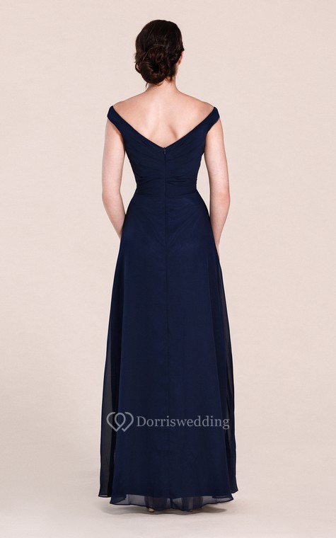 Off-shoulder A-line Chiffon Gown With V-back - 4