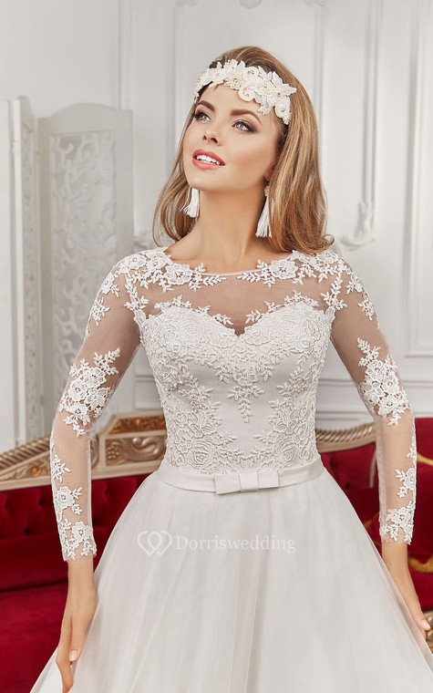 Bateau Floor-length Long Sleeve Illusion Back Appliques Dress With Bows - 2