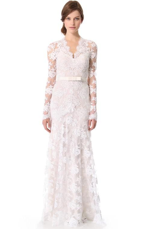Unique Long Sleeves Long Low-V Sheath Lace Dress - 1