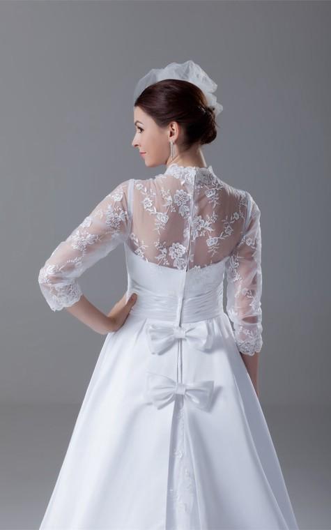 Exquisite Long Sleeve High Neck Satin Appliqued a Line Wedding Dresses - 7