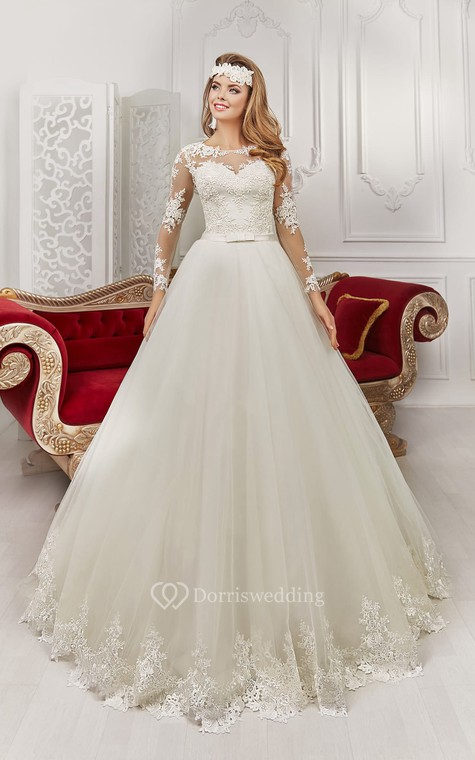 Bateau Floor-length Long Sleeve Illusion Back Appliques Dress With Bows - 1