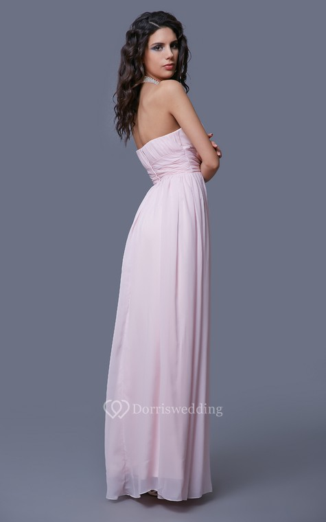 Feminine Strapless Empire-waisted Prom Gown with Pleats - 4
