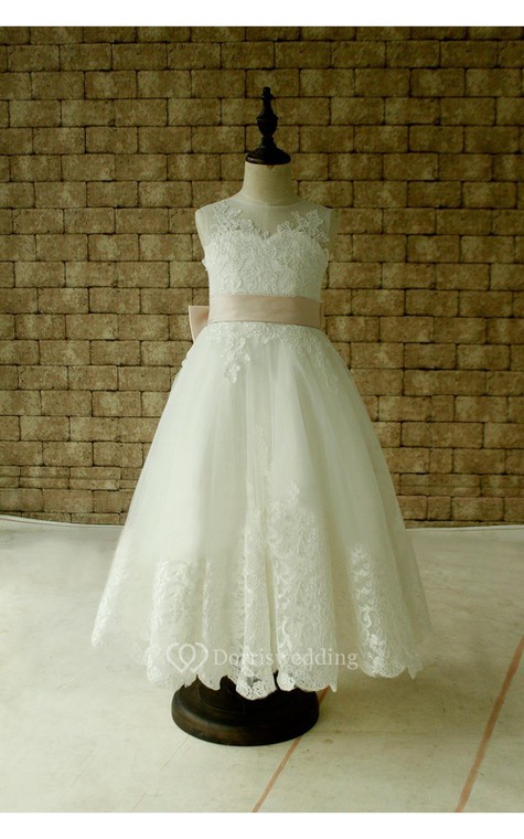 Illusion Neckline Sleeveless A-line Pleated Lace Long Dress With Keyhole and Bows - 2