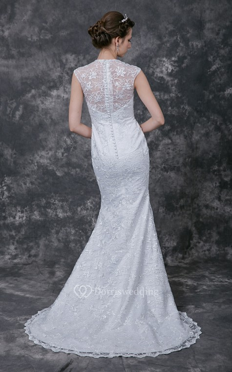 Sophisticated Cap-sleeved High Neck Slim-line Lace and Charmeuse Wedding Gown - 2