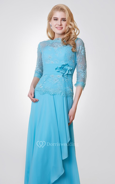3-4 Length Sleeve Long Chiffon and Lace Dress With Side Draping - 4