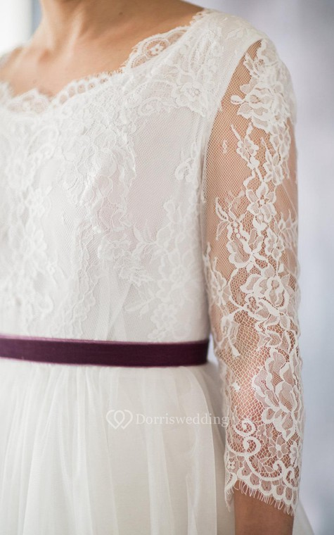 3-4 Sleeve A-Line Lace and Organza Dress With Bateau Neckline and Satin Sash - 4