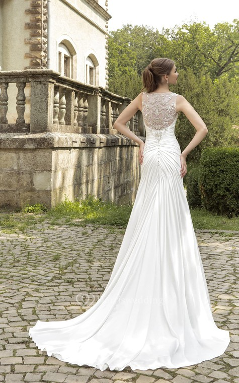 Floor-length Ruching Crystal Detailing Dress  - 3