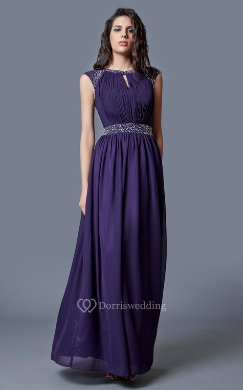Beaded Cap-sleeved Bateau Neck Ruched Long Chiffon Dress - 1