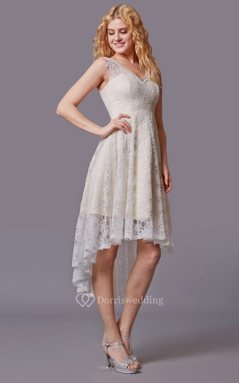 Traditional Twist Wedding Dress With Sleeveless Lacy Style and Asymmetrical Cut - 3