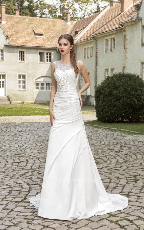 Floor-length Ruching Crystal Detailing Dress  - 1