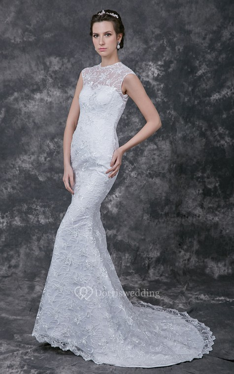 Sophisticated Cap-sleeved High Neck Slim-line Lace and Charmeuse Wedding Gown - 1