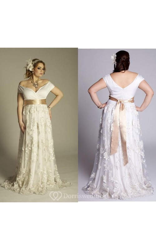 Plus Size Off Shoulder A Line Vintage Lace Floor Length Wedding Gown