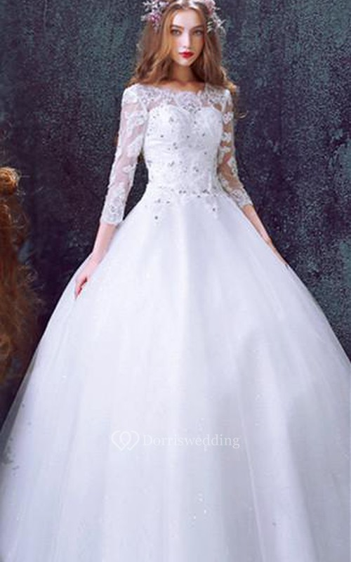Romantic Tulle Lace Beadings Wedding Dress 2018 3-4-Long Sleeve Princess