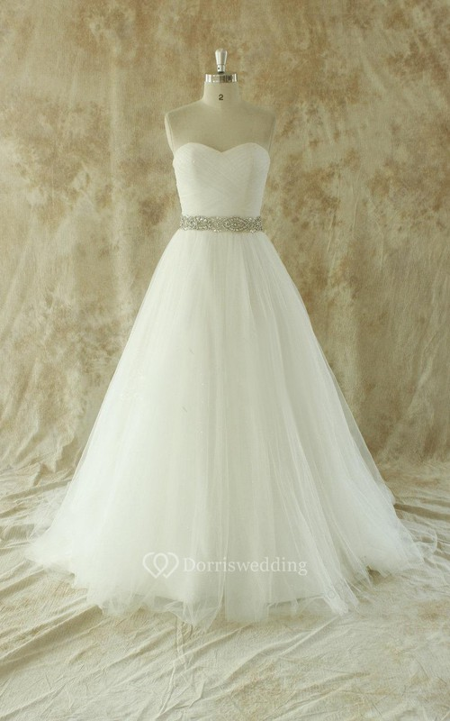 Sweetheart A-Line Strapless Tulle Gown With Beading Sash - Dorris ...