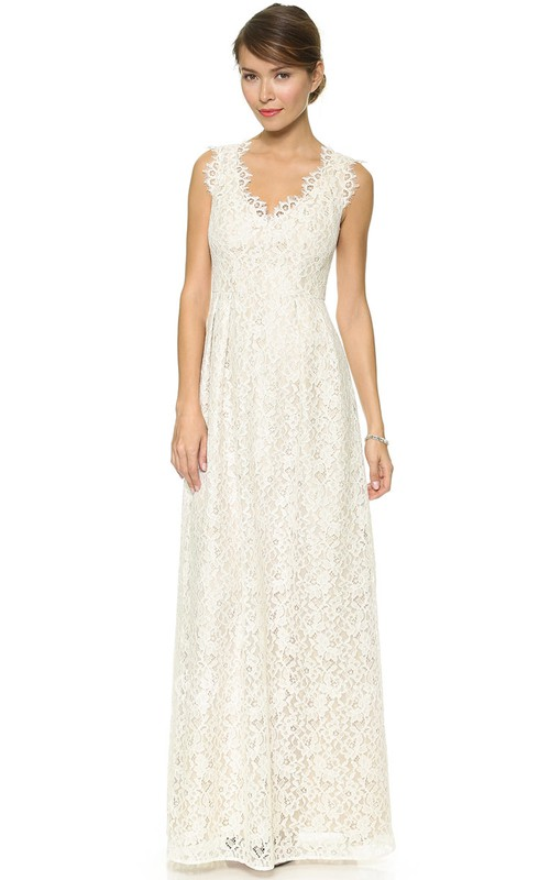 Long Neckline Sheath Lace Dress With Side Draping