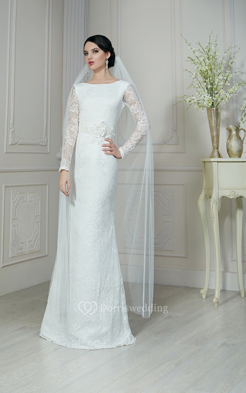 Sheath Floor-Length Bateau-Neck Illusion-Sleeve Low-V-Back Lace Dress With Flower And Sash