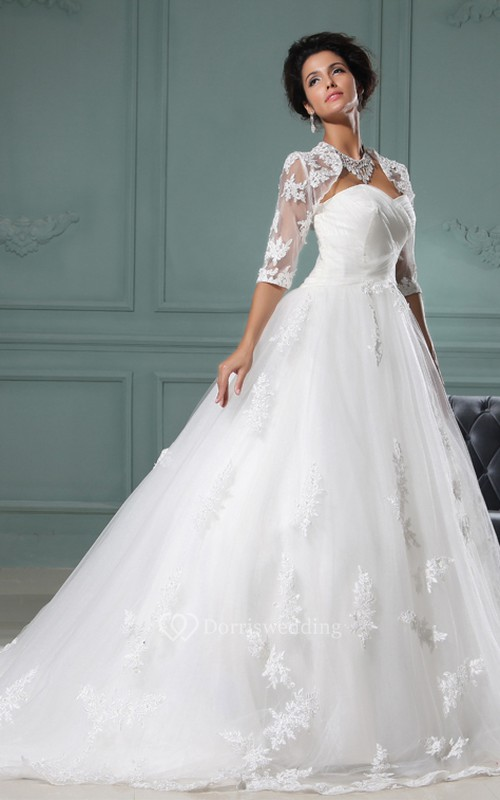 Sweetheart A-Line Dress With Tulle Overlay and Lace Bolero