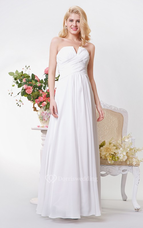 Strapless A-line Long Chiffon Dress With Ruching