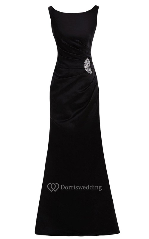 Cap-sleeved Bateau-neck Satin Gown With Beadings