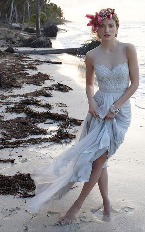 illusion neckline sheer back beach lace chiffon wedding dress