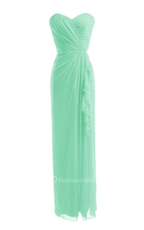 Strapless Sweetheart Side-drappping Chiffon Sheath Gown