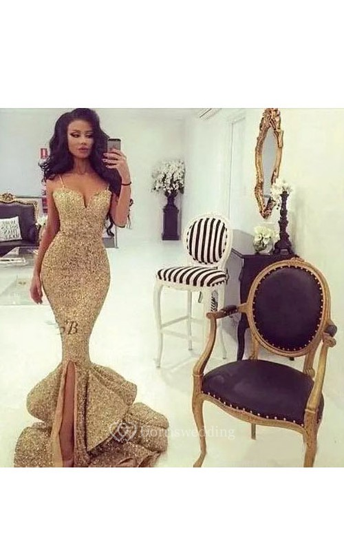 Straps Neck Sweetheart Mermaid Trumpet Sequins Sexy Floor-length Sleeveless Beading Sequins Evening Dress