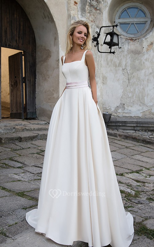 Simple Satin A-line Square-neck Bridal Gown with Court Train