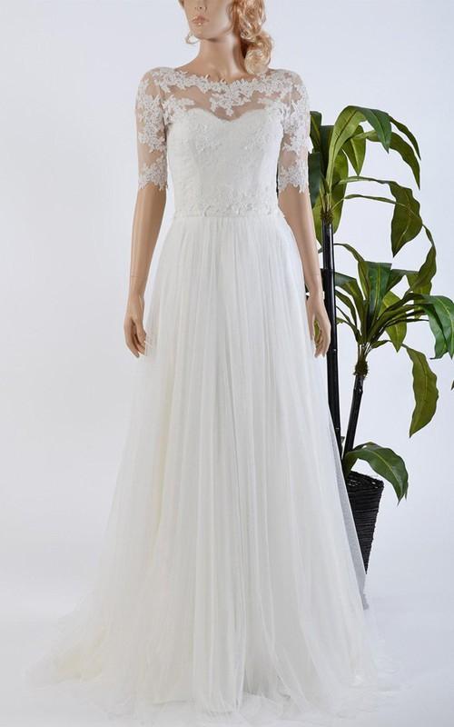 Tulle Satin Bowed Lace Bolero Wedding Dress - Dorris Wedding