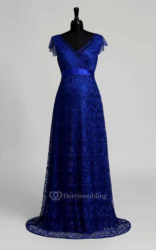 A-line V-neck Cap Short Sleeve Floor-length Lace Maternity Dress with Sweep/Brush Train