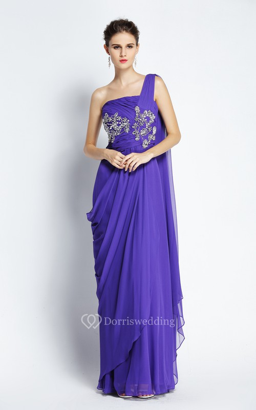 A-Line Floor-length One-shoulder Chiffon Sleeveless Prom Dress with Beading and Draping