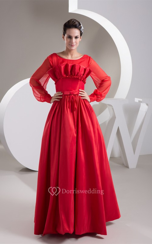 Long-Sleeve A-Line Maxi Pleats and Gown With Bow