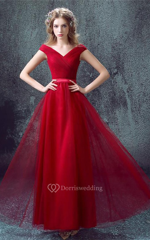 Newest Red Off-the-shoulder A-line Prom Dress 2018 Lace-up Floor ...