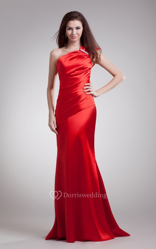 Shining One Shoulder Sleeveless Brush Train Special Occasion Dresses