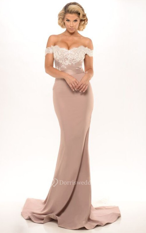 Mermaid Floor-Length Off-The-Shoulder Appliqued Jersey Prom Dress ...