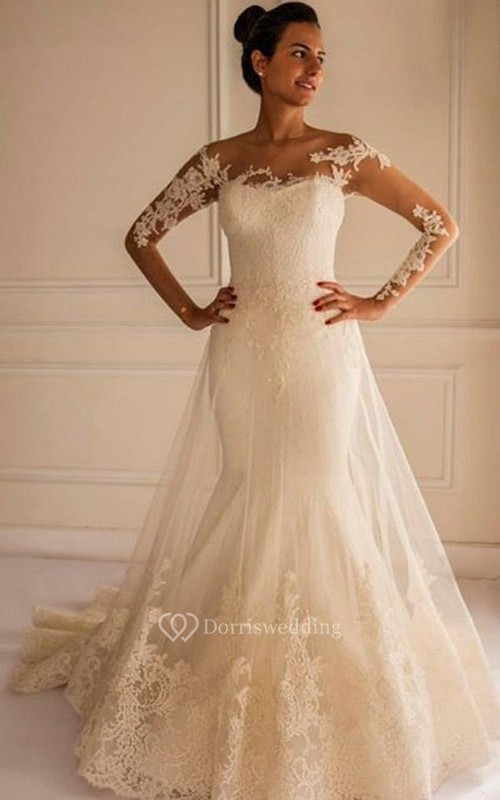 Chic lace appliques mermaid tulle wedding dress 2018 court for Cream colored lace wedding dresses