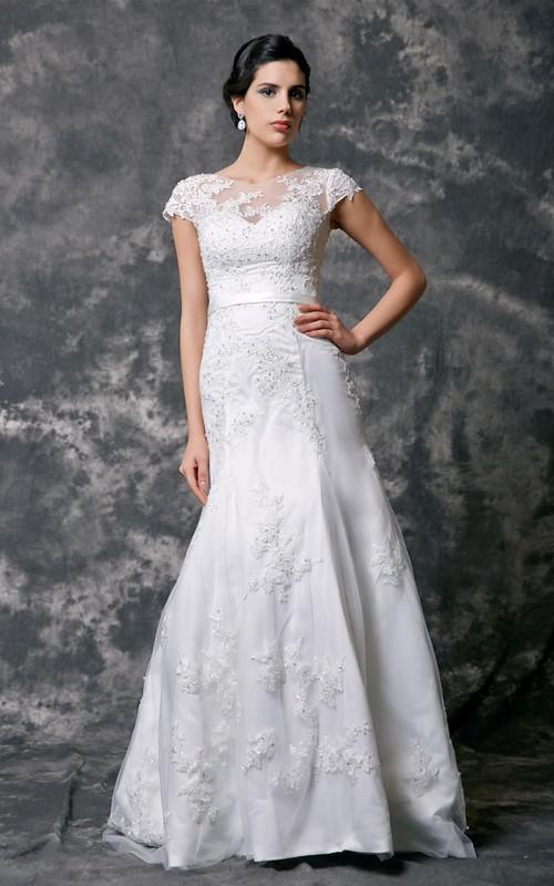 Cap Sleeve High Neck Beaded Lace Wedding Dress - Dorris Wedding