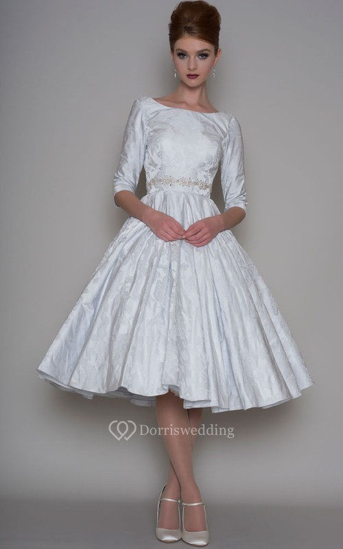 A-Line Tea-Length 3-4 Sleeve Bateau Neck Jeweled Satin Wedding Dress