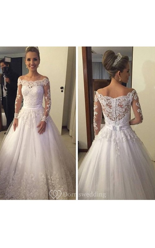 Gorgeous Off-shoulder Long-sleeved Lace Ball Gown Illusion Style ...