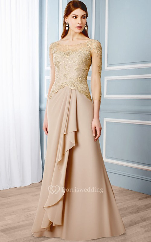 Draped 3-4 Sleeve Scoop Neck Chiffon Formal Dress