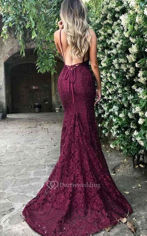 Mermaid Trumpet Lace V-neck Sleeveless Open Back Lace-up Corset Back Dress