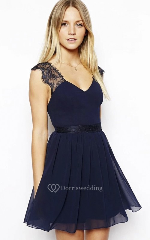 V-neck Mini Skirt Cute Sexy Chiffon Homecoming Dress With Open Back