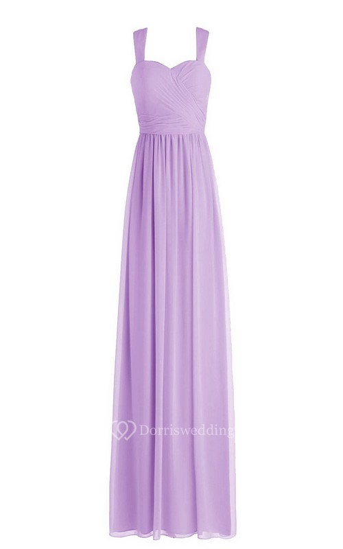 Simple Straps Ruched A-line Gown With Zipper Back
