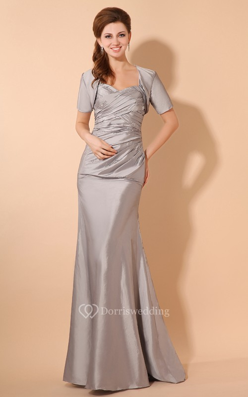 Taffeta Floor-Length Dress With Criss-Cross Ruching