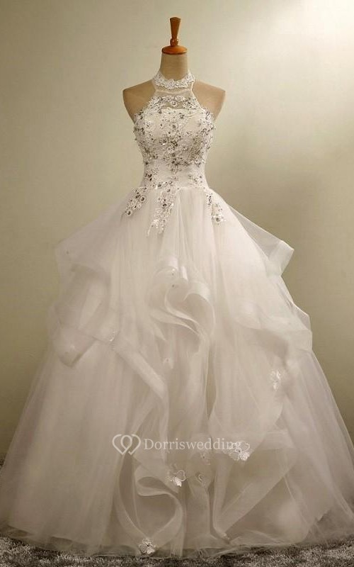 Ball Gown Halter Tulle Lace Organza Dress
