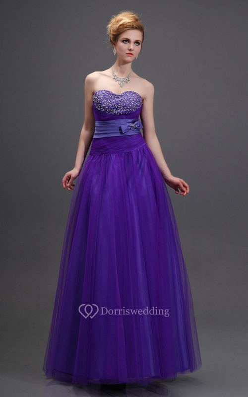 Sweetheart A-Line Beaded Dress With Bow and Belted Waist