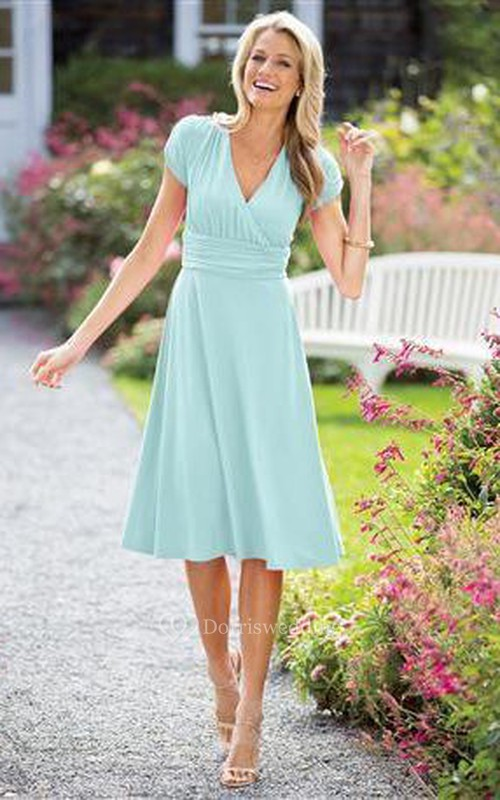 A-line Tea-length V-neck Short Sleeve Ruched Zipper Chiffon Dress ...